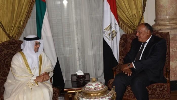 شكري وقرقاش يبحثان أوجه العلاقات الثنائية بين مصر والإمارات