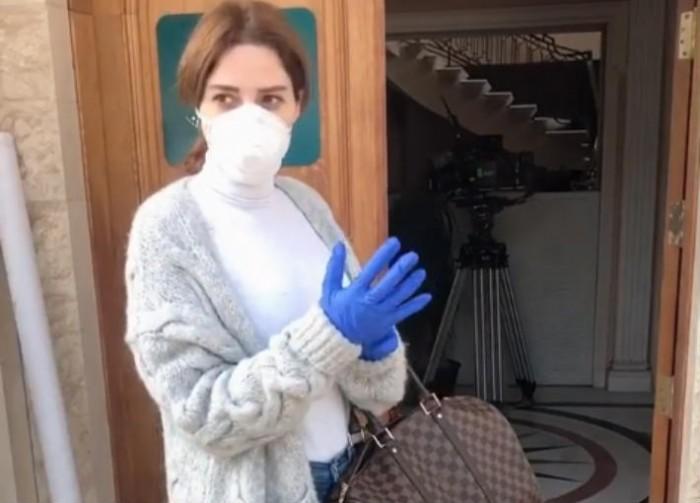 """سيرين عبد النور تخضع للتعقيم بسبب كورونا في كواليس مسلسلها """"دانتيل"""""""