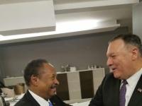 بومبيو يناقش مع حمدوك إجراءات رفع اسم السودان من لائحة الإرهاب