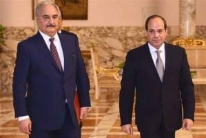 انطلاق مؤتمر صحفي للرئيس المصري مع حفتر وعقيلة صالح