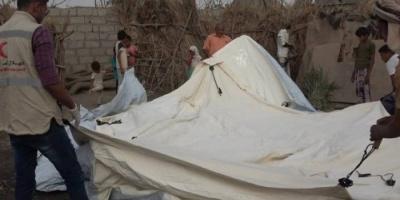 """""""الهلال الإماراتي"""" يأوي 18 أسرة شردها الحوثي في الحديدة"""