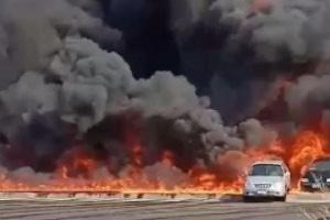 مصر.. اندلاع حريق هائل بطريق الإسماعيلية الصحراوي