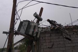 عاصفة تُحدث أضرارًا كبيرة بكهرباء تبن (صور)