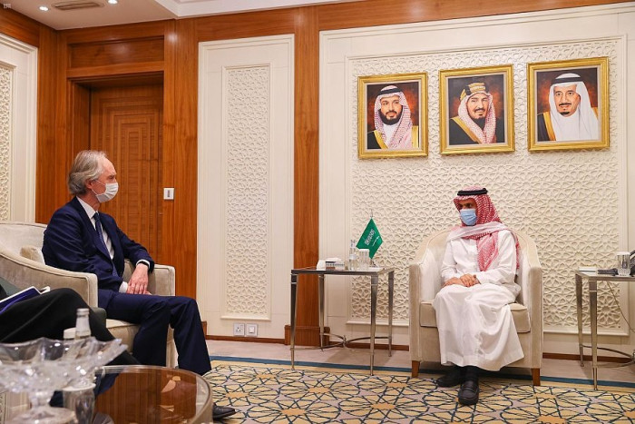 وزير الخارجية السعودي يستقبل المبعوث الأممي الخاص بسوريا