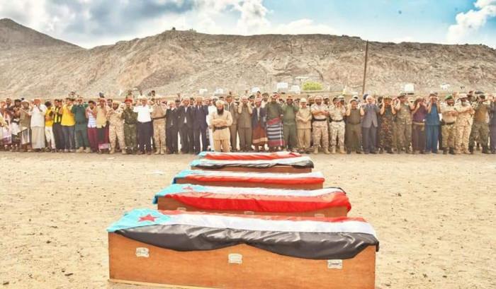 أدى صلاة الجنازة.. لملس يتقدم مشيعي شهداء الجنوب