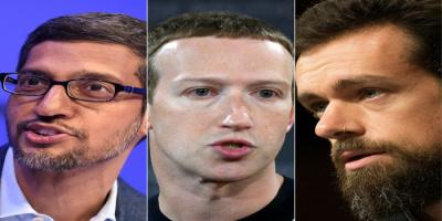 """""""رؤساء """"فيسبوك"""" و""""تويتر"""" و""""غوغل"""" أمام النواب الأمريكي للتحقيق"""
