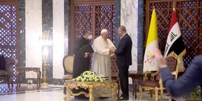 """شعار البابا إلى العراق رمز للتسامح والإنسانية.. """"أنتم جميعكم إخوة"""" """