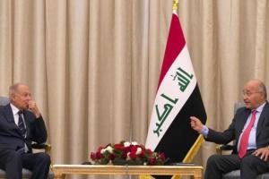 الرئيس العراقي يلتقي بالأمين العام للجامعة العربية
