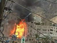 حريق بمحطة غاز في الحوبان يلتهم محال مجاورة