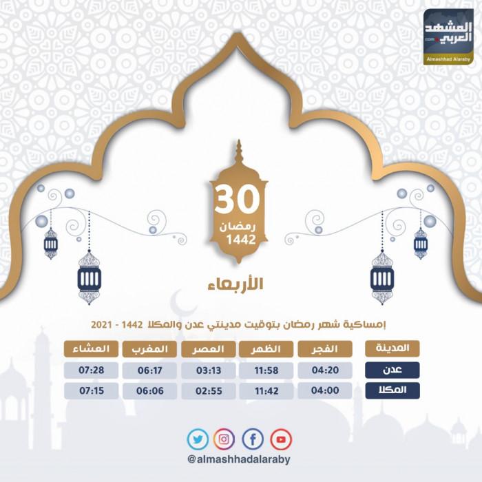 مواعيد أذاني الفجر والمغرب الأربعاء 30 رمضان