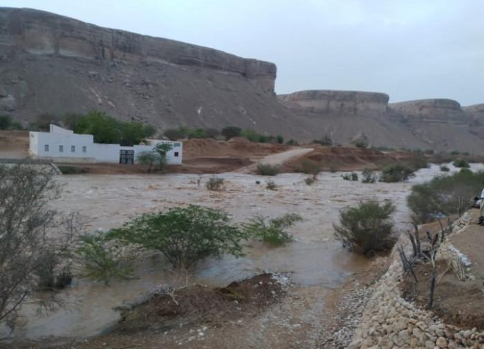 السيول تحاصر مواطنين وتقطع طرق القطن